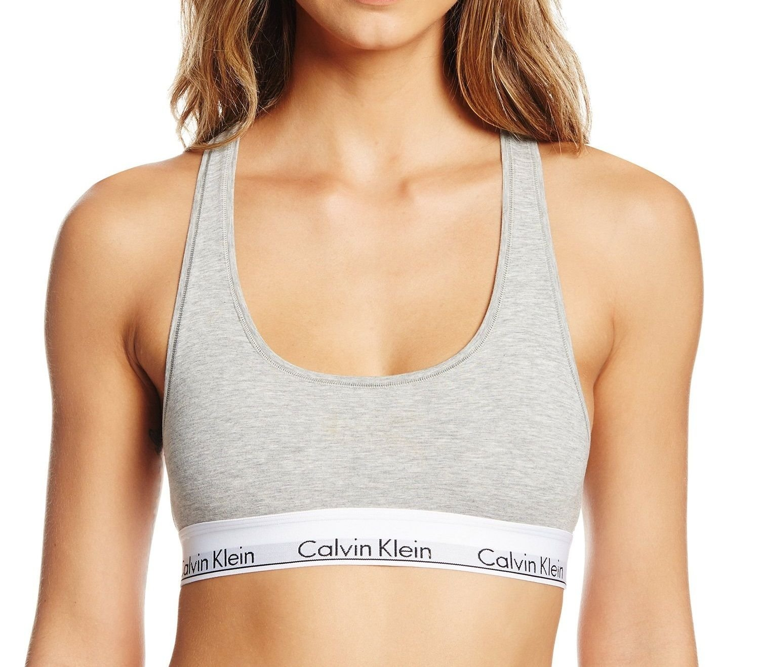 Calvin Klein Women`s Modern Cotton Bralette 1 Pack (Grey Heather(F3785X-020)/White/Black, Small)