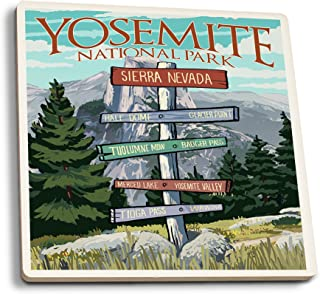 product image for Lantern Press Yosemite National Park, California - Signpost (Set of 4 Ceramic Coasters - Cork-Backed, Absorbent)
