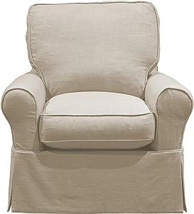 Sunset Trading Horizon Swivel Rocking Chair, Linen