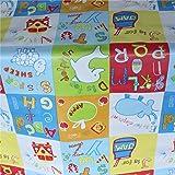 I Want Fabric - Nappe Vinyle PVC Toile Huilée pour Enfant Motif Lettres de l'Alphabet Animaux à Essuyer