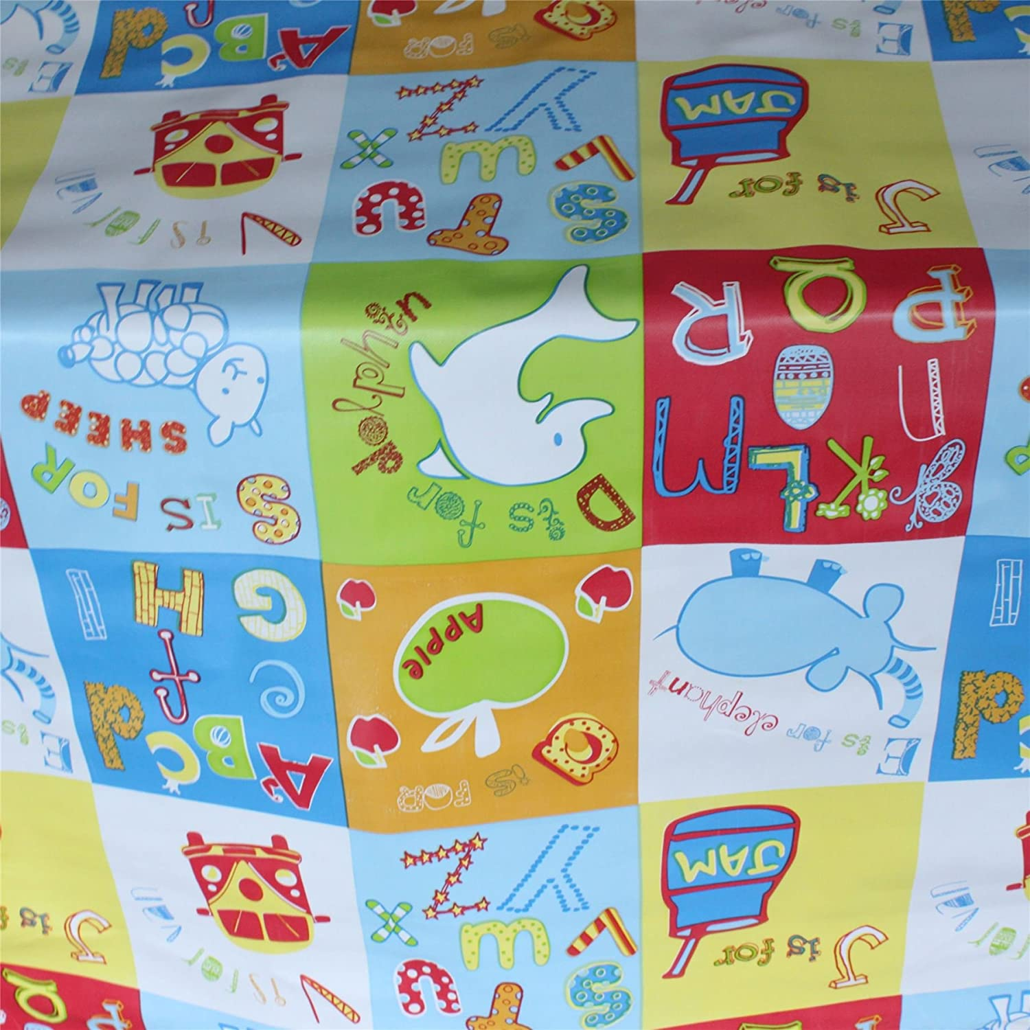 CHILDRENS ABC ALPHABET ANIMAL PVC OILCLOTH VINYL FABRIC WIPECLEAN TABLECLOTH I Want Fabric