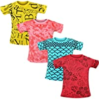 Luke and Lilly Boys Cotton Half Sleeve Round Neck Printed Tshirt - Pack of 4