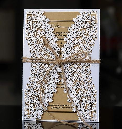 NINESH 50PCS Hermosa invitación Festival celebración láser Hueco ...