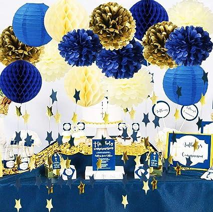 3e915dde2b5b Royal Prince Baby Shower Decorations Furuix Navy Cream Gold Bridal Shower  Decorations Tissue Pom Pom Navy
