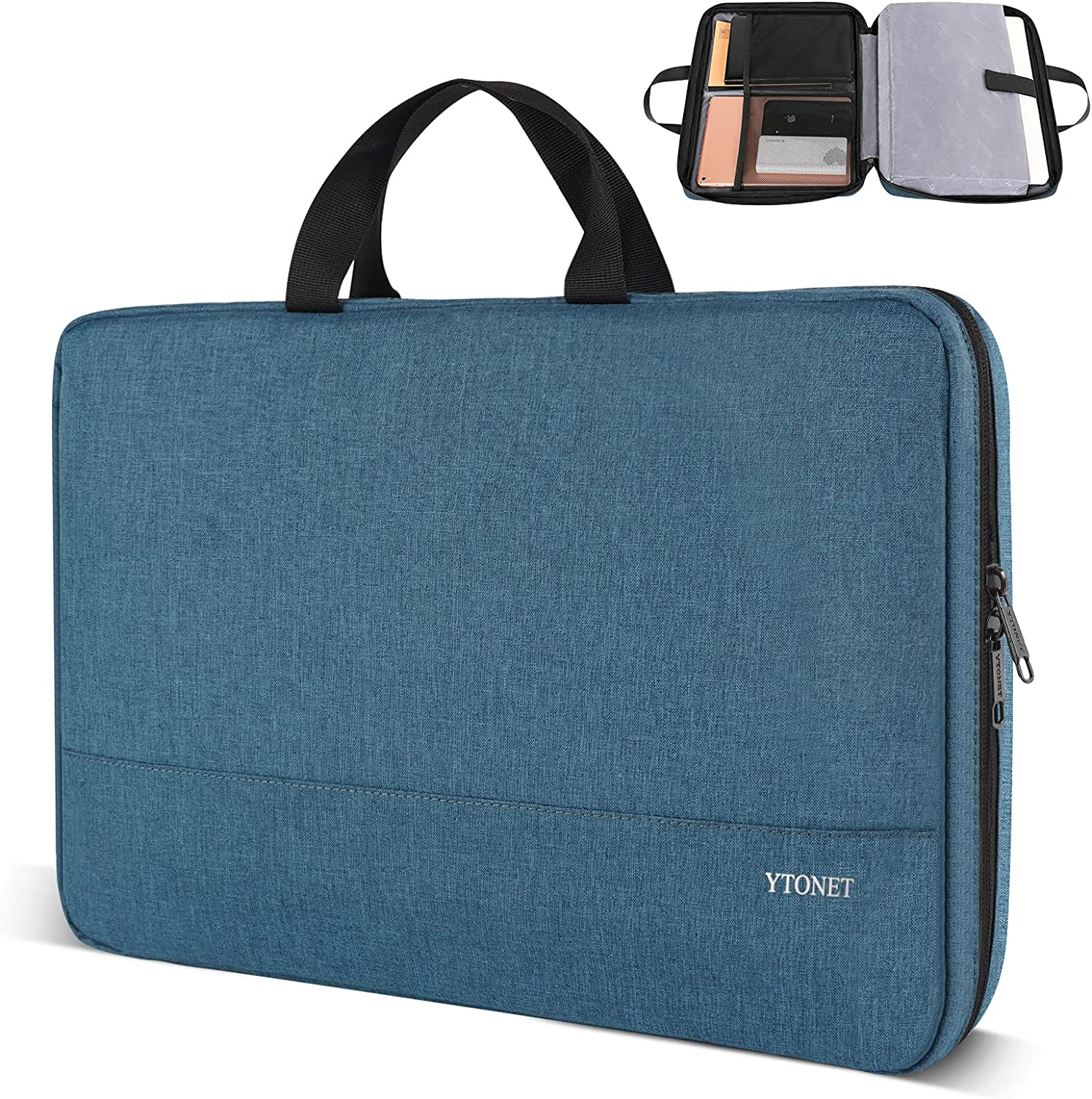 Ytonet Laptop Sleeve Case, 15.6 inch Slim Water Resistant TSA Laptop Case,Handle Bag for 15.6 inch HP Dell Asus Notebook, Deep Teal