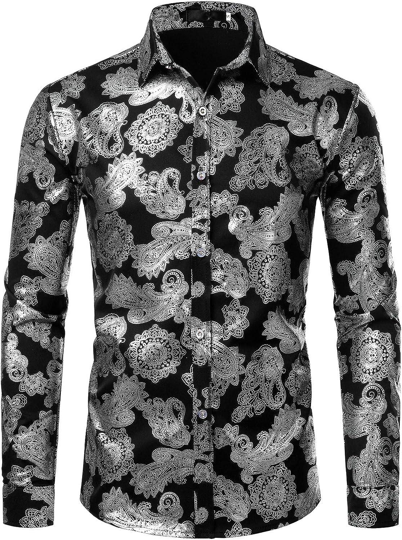 Yusky Mens Point Collar Floral Wrinkle-Free Regular Fit Long Shirt