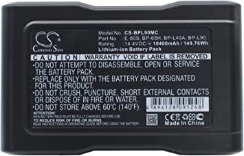 DZ-BP14S Rechargeable Battery BP-90 Replacement for Sony BVM-D9 Broadcast Monitors BVM-D9H1A BC-L100CE 14.4v 10400mAh