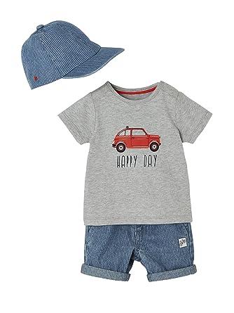 Vertbaudet Baby Boys Outfit Cap Top With Car Motif Bermuda
