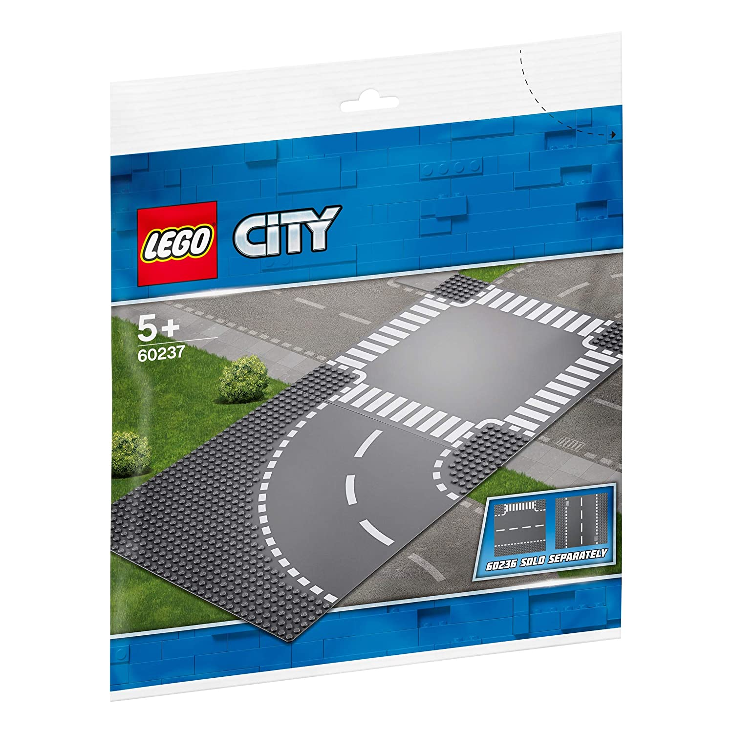 New 2019 2 Piece LEGO City Curve and Crossroad 60237 Building Kit
