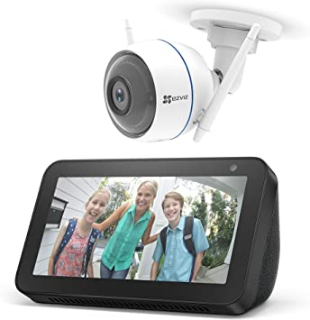 Echo Show 5, negro +EZVIZ ezTube 1080p Cámara de Seguridad, compatible con Alexa
