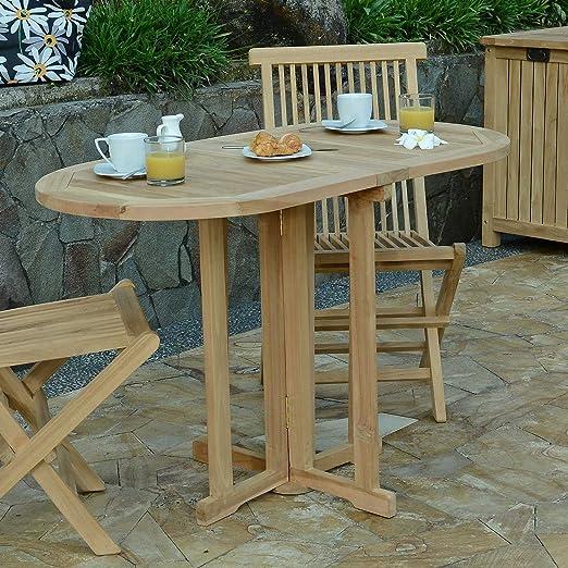Table Pliante Ovale en Teck Ecograde Manoï 120 x 60 cm pour ...