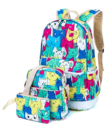 a61d74ba12d5 Leaper Cute Cat Face Backpack for Girls Laptop Backpack School Bag Travel  Daypack Bookbag Shoulder Bag Pencil Case  Amazon.ca  Luggage   Bags