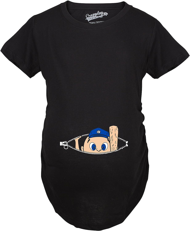 Maternity Peeking Baseball Player Baby Funny Pregnancy Gift T shirt Crazy Dog Tshirts