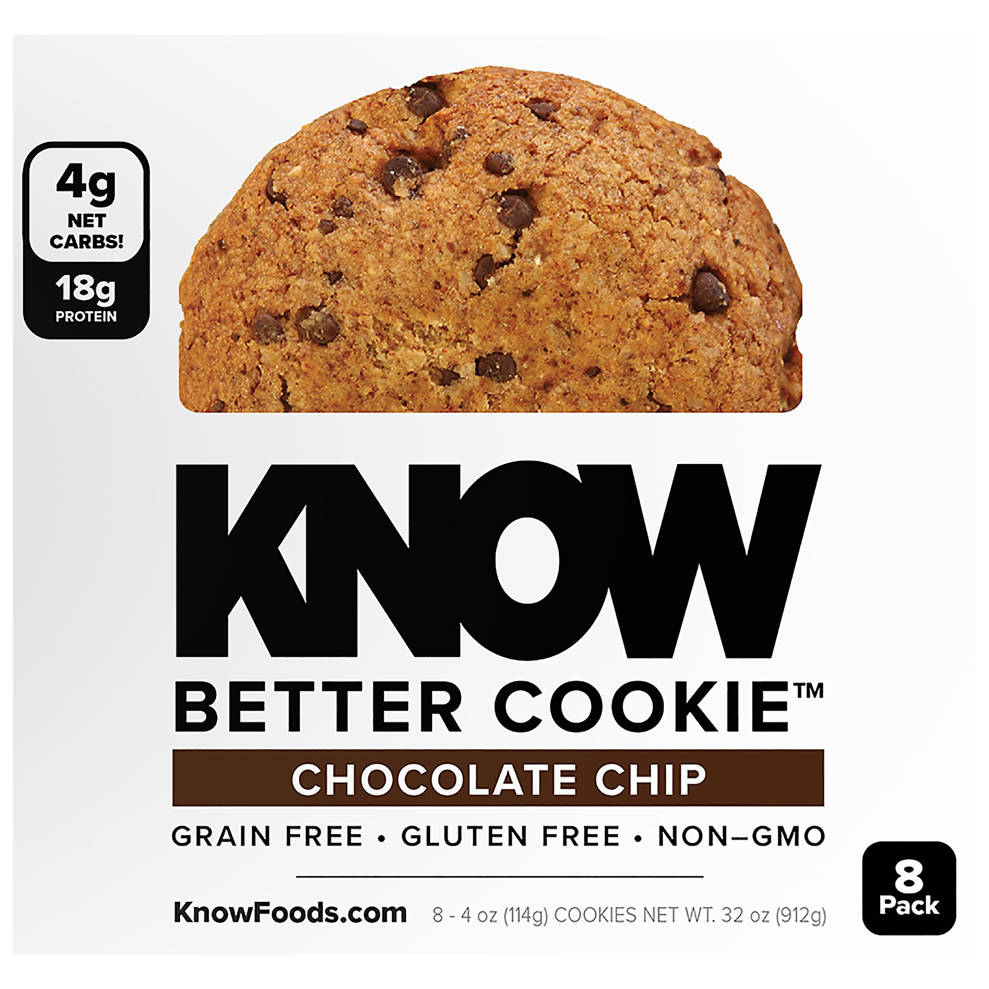 KNOW Better Cookies - Chocolate Chip 4 oz Cookies (Pack of 8)