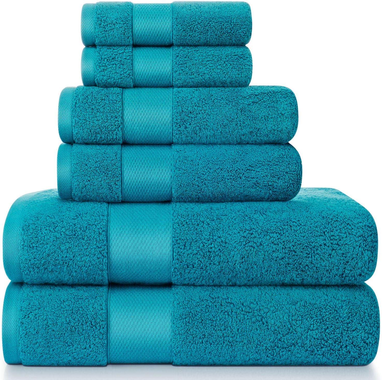 Towels Set, Bath Towels Set for Bathroom 100% Turkish Cotton 600 GSM Absorbent and Soft 6 Piece Towels Set - 2 Bath Towels, 2 Hand Towels, and 2 Washcloths, Turquoise Blue: Kitchen & Dining