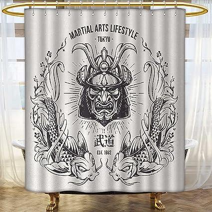 Japanese Shower Curtain Samurai Tiger Oriental Print for Bathroom