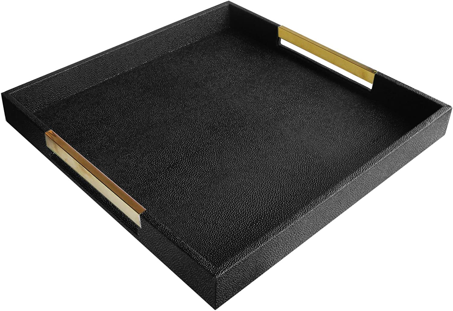 American Atelier Black Square Tray with Gold Handles