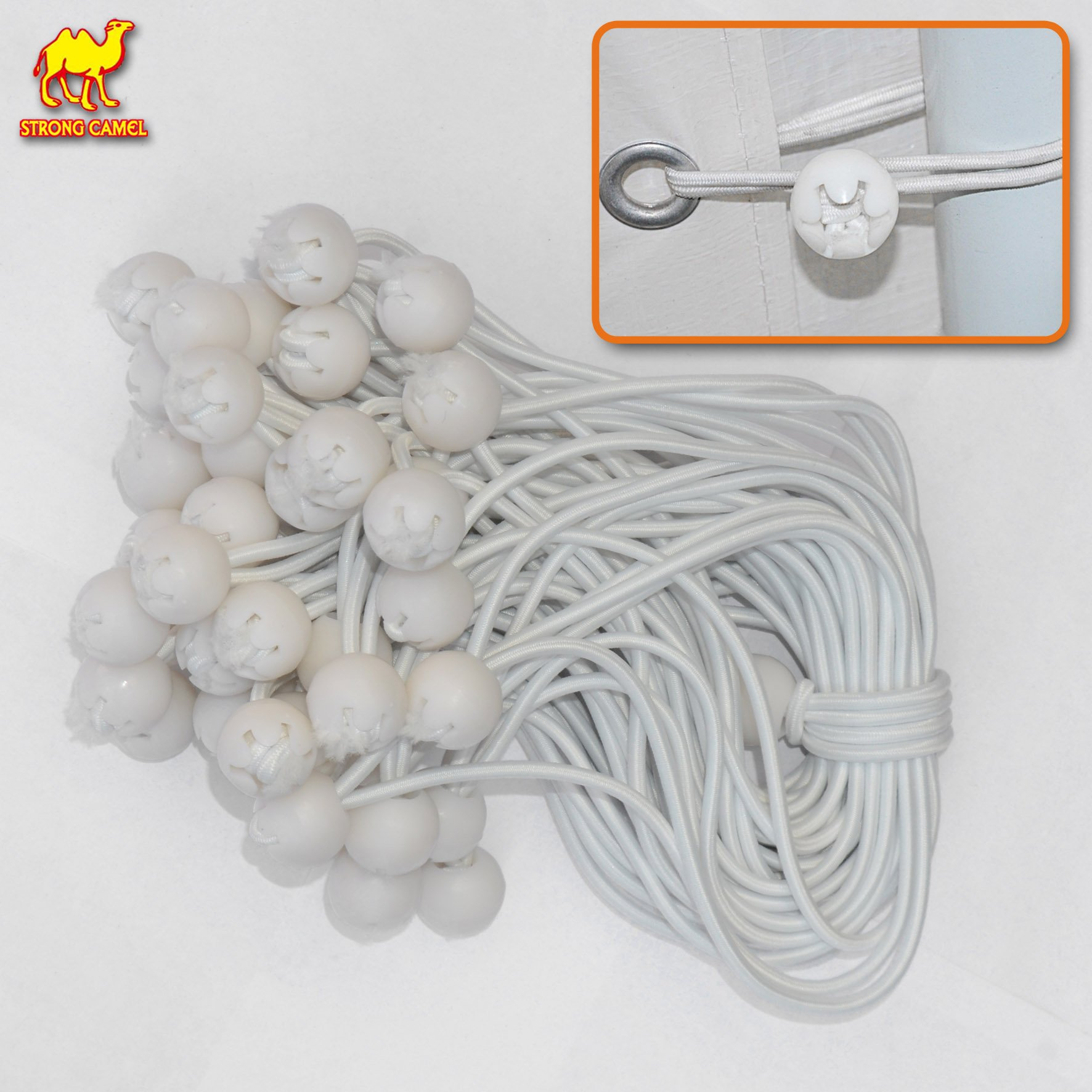 STRONG CAMEL Ball Bungees Cord Tarp Party Tent Tie Downs Bungee Canopy Gazebo Straps 9'' WHITE(50PCS)