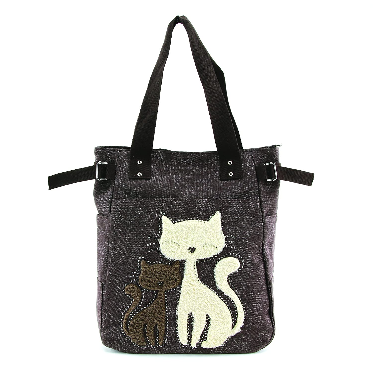 Lovely Cats With Faux Fur And Studs Canvas Tote Bag Brown