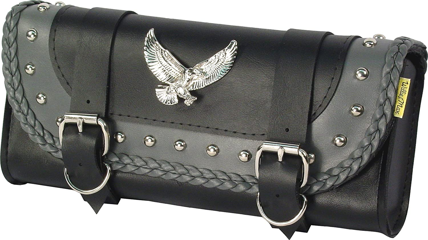 Black and Grey Dowco Willie /& Max 58245-01 Thunder Series Synthetic Leather Studded Motorcycle Tool Pouch Universal Fit