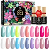 MEFA Gel Nail Polish Set 23 Pcs with Gift Box, Soak Off Nail Gel Polish Summer Colors Gel Varnish with Base Coat and No…