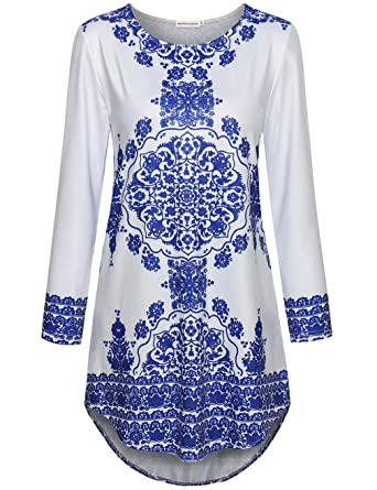 442e7526abb SUNERLORY Women Long Sleeve Blue and White Porcelain Floral Printed ...