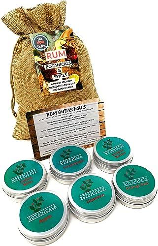 Rum Botanicals - Juego de 6 ingredientes con infusión de ron con granos de café, manzana, pimienta de Jamaica, especias de ron para infundir y decorar ...