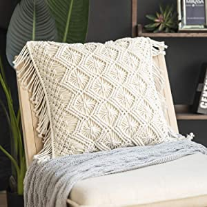 Phantoscope 100% Cotton Handmade Crochet Diamond Woven Boho with Fringe Throw Pillow Farmhouse Pillow Insert Included Decorative Cushion for Couch Sofa Off White 18 x 18 inches