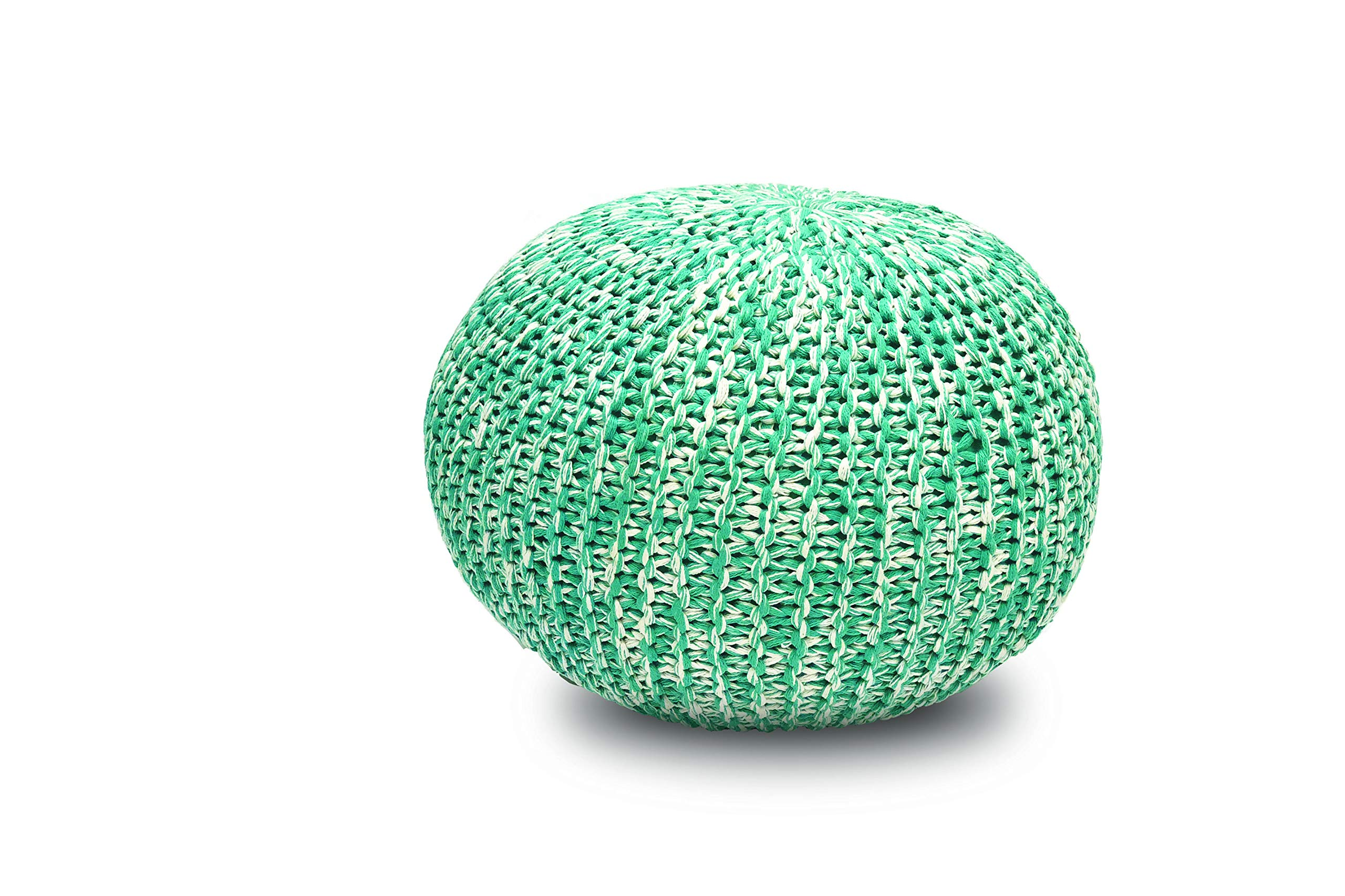 Gneral Woven Round FloorPouf Turquoise