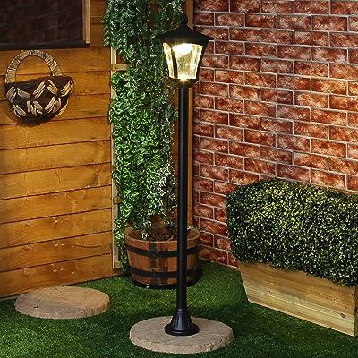 Éclairage Extérieur Potelet Solaire Noir à LED Blanc Chaud 120cm ...