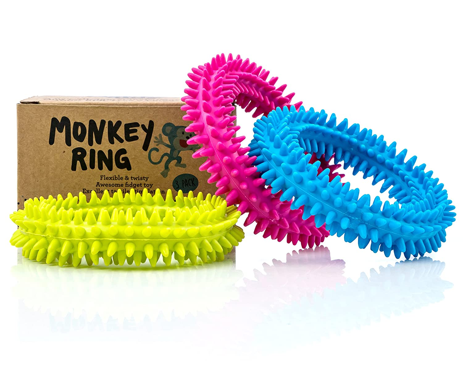 ab6c50bb6d8104 Amazon.com : Spiky Sensory Ring/Bracelet Fidget Toy (Pack of 3) -  BPA/Phthalate/Latex-Free - Fidgets Toys/Stress Rings for Children and  Adults - by Impresa ...