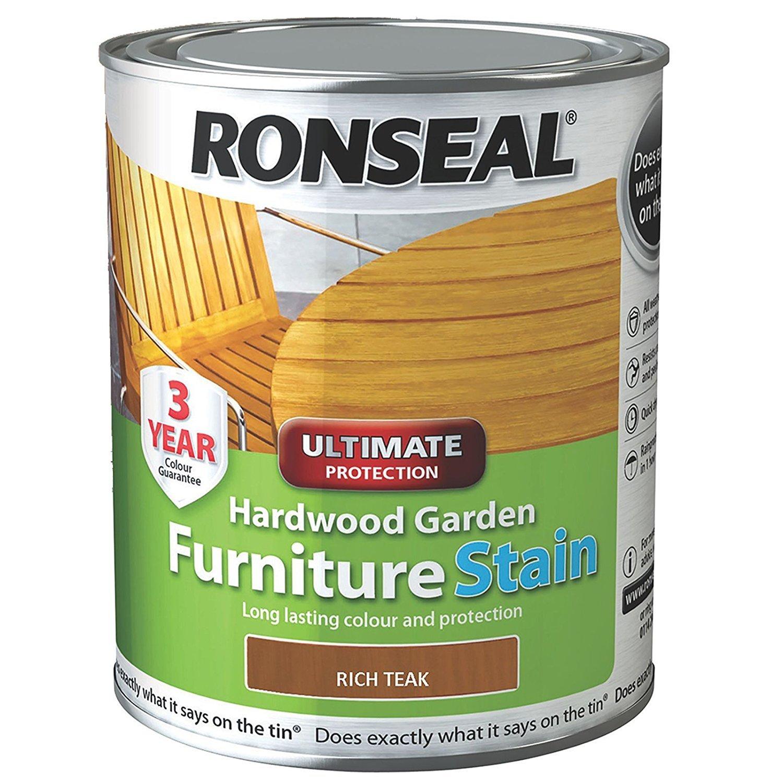 Ronseal hwfsrt50 hardwood furniture stain rich teak 750 ml amazon co uk diy tools