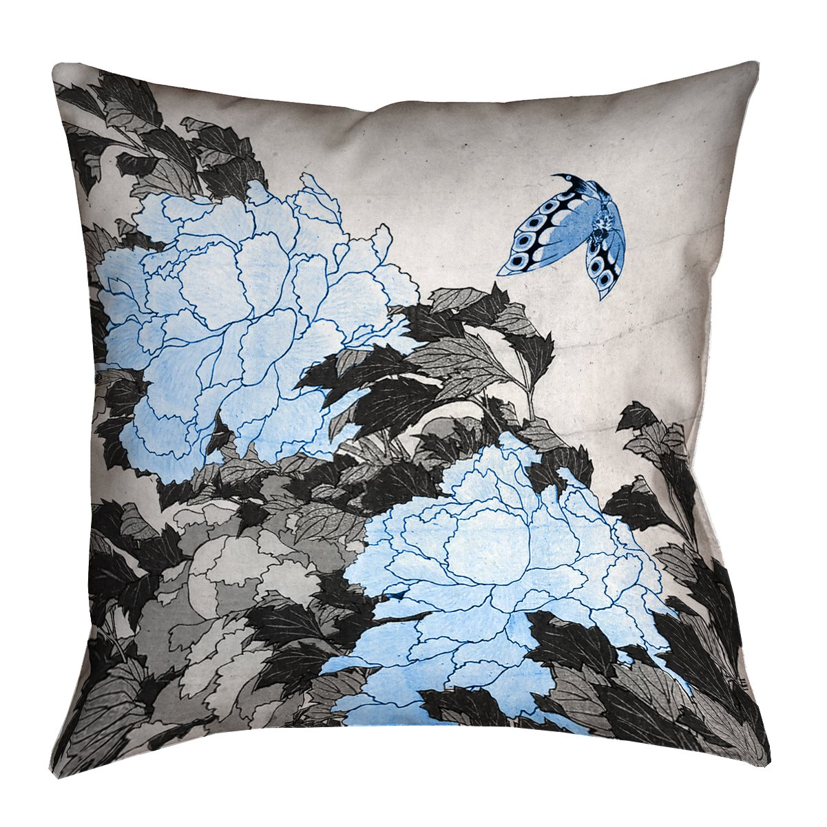 ArtVerse Katsushika Hokusai 14 x 20 Spun Polyester Peonies and Butterfly with Blue Accents Pillow