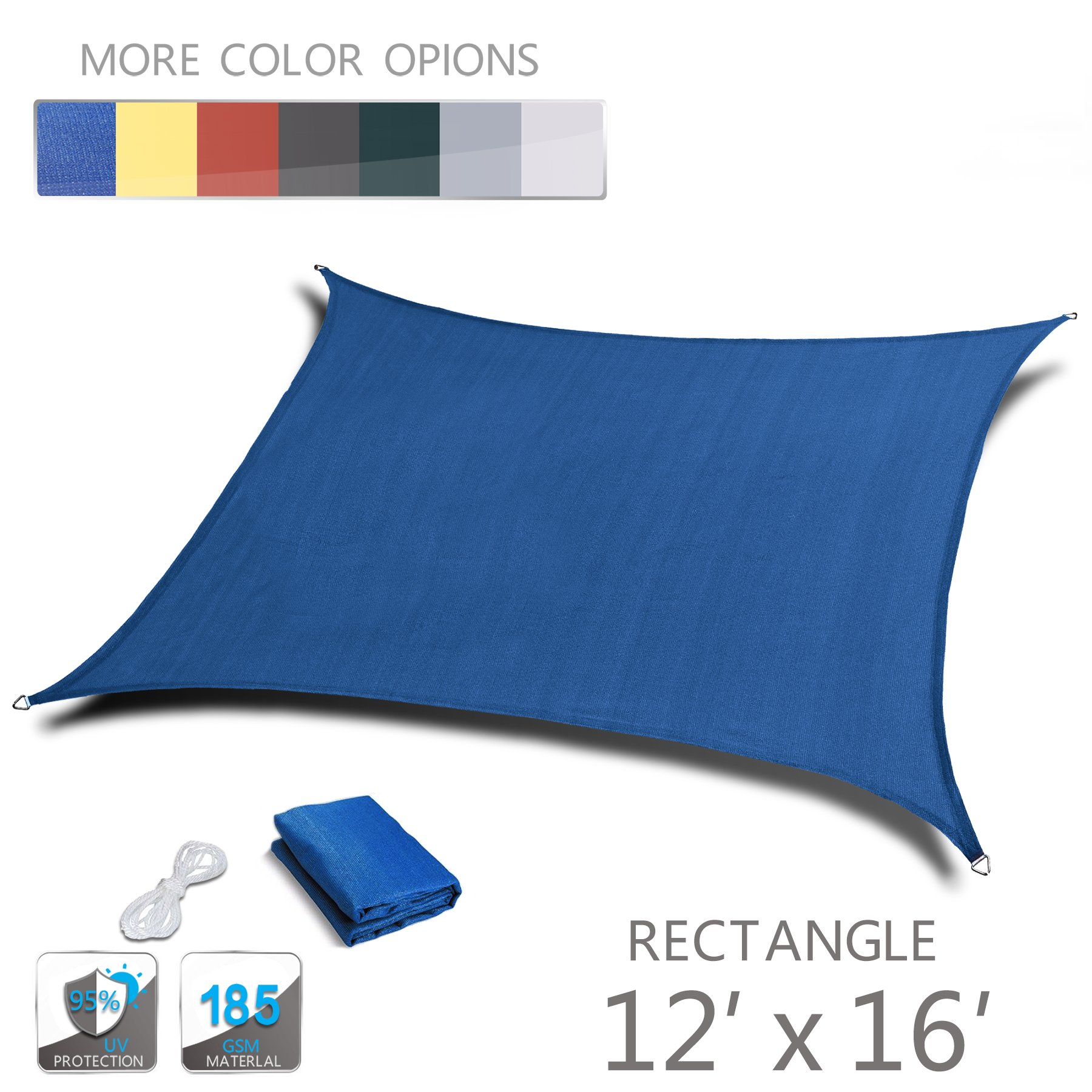 Love Story 12' x 16' Rectangle Blue UV Block Sun Shade Sail Perfect for Outdoor Patio Garden