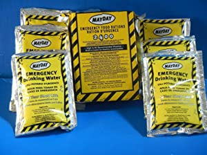 Mayday 2400 Calorie Bar and Water Emergency Survival MRE Ration Car and Bug Out Kit w/FREE Mayday Poncho