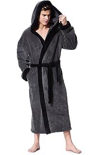 1511c20de5 Mens Luxury Super Soft Fleece Dressing Gown Bath Robe Hooded Thick ...