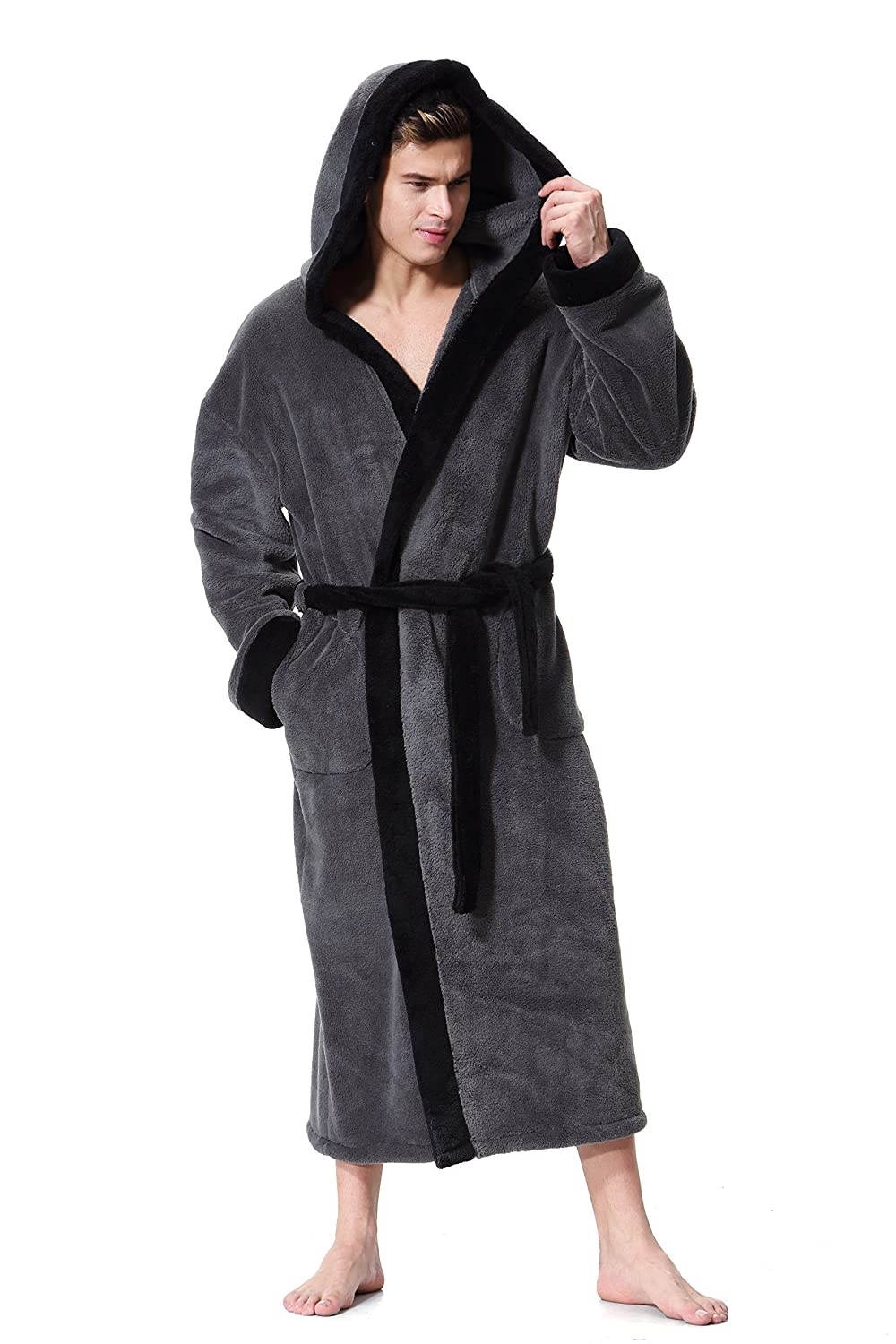 OUFANG Mens Hooded Bathrobe in 2 Colored Soft Spa Kimono Shawl Collar  Hooded Long Robe Unisex c4671f1dd