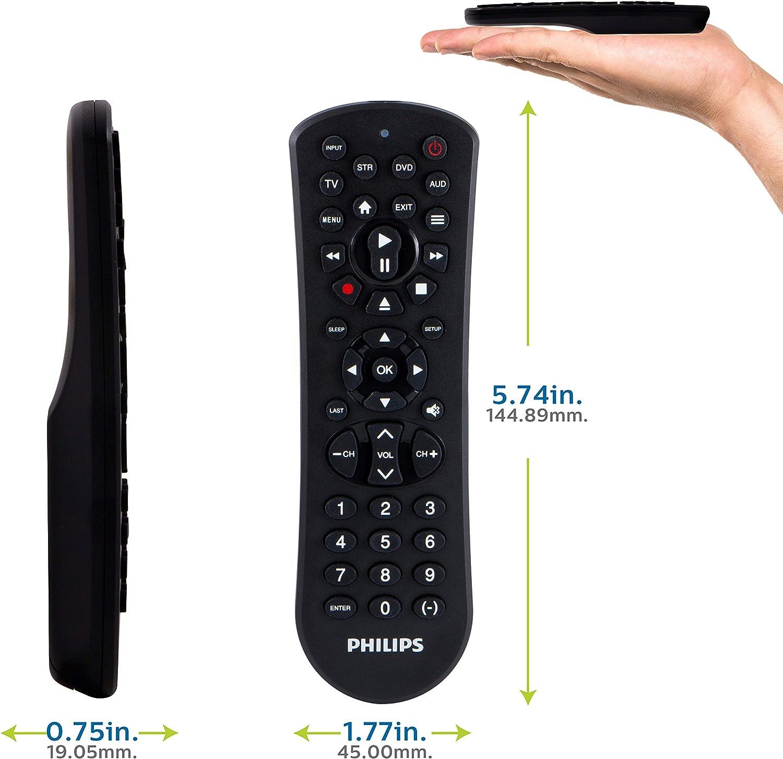 Philips SRP9141A/27 - Mando a Distancia Universal (4 Dispositivos, Acabado en Negro Mate, preprogramado para Dispositivos Samsung y Roku, para Todas Las Marcas Principales): Amazon.es: Electrónica