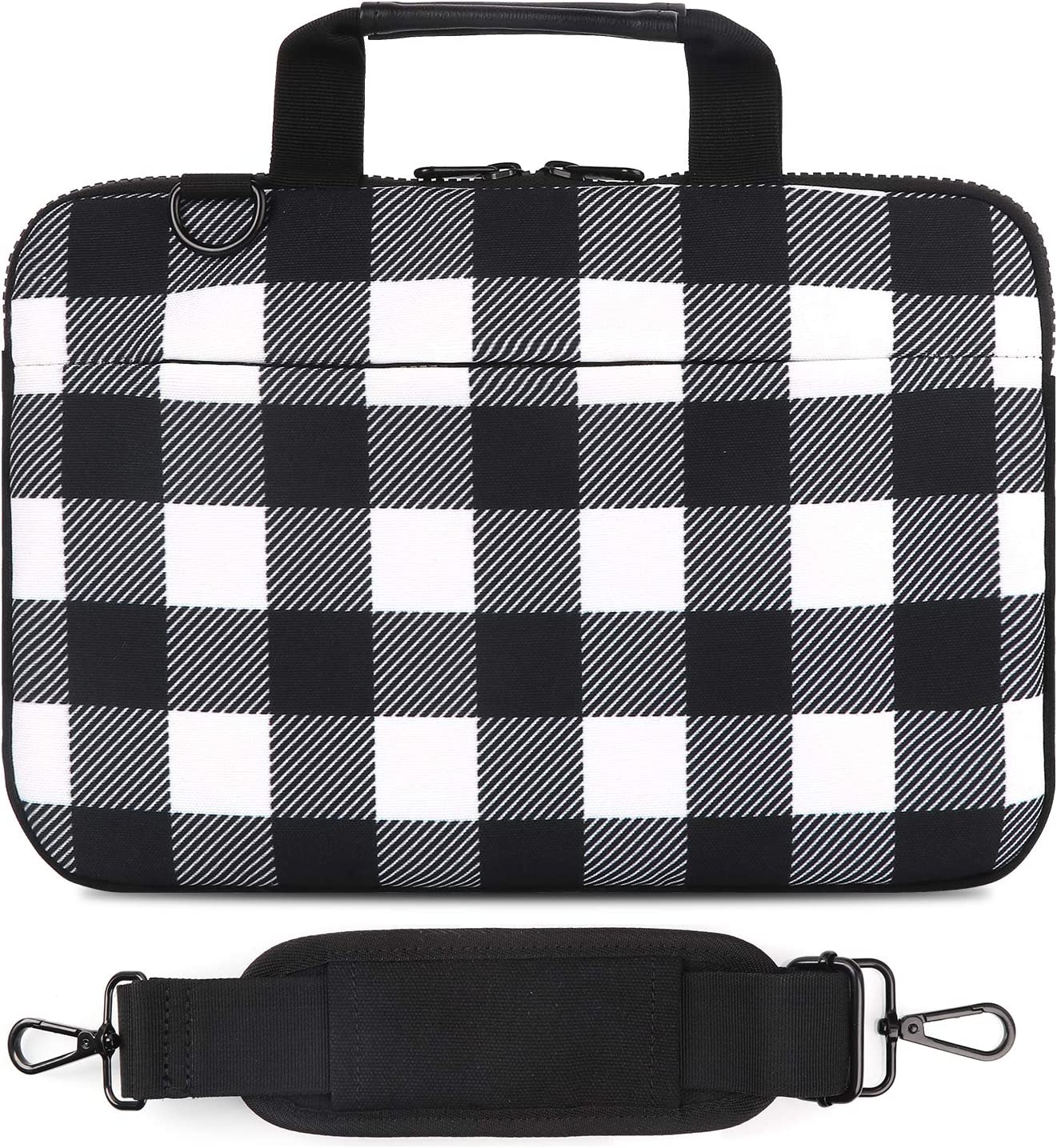 Holilife 13-13.3 Inch Laptop Shoulder Bag, Protective Notebook Messenger Briefcase Compatible with MacBook Air MacBook Pro Ultrabook Chromebook, Checkerboard