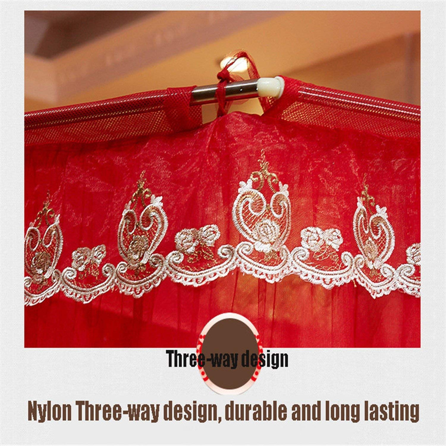 Fishing Rod Retractable Three Door Palace Mosquito Net Floor Standing Anti Mosquito Wedding Nets,Wedding Red Color,1.8Mwx2Mlx2.1Mh by special shine-shop mosquito net (Image #4)