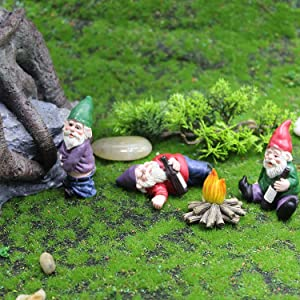 Fairy Garden Accessories,Drunk Gnome Kit of 4 Pcs for Fairy Garden,Micro Landscape Decoration Plant Flower Pots Ornaments,Lawn Ornaments, Indoor or Outdoor Decorations