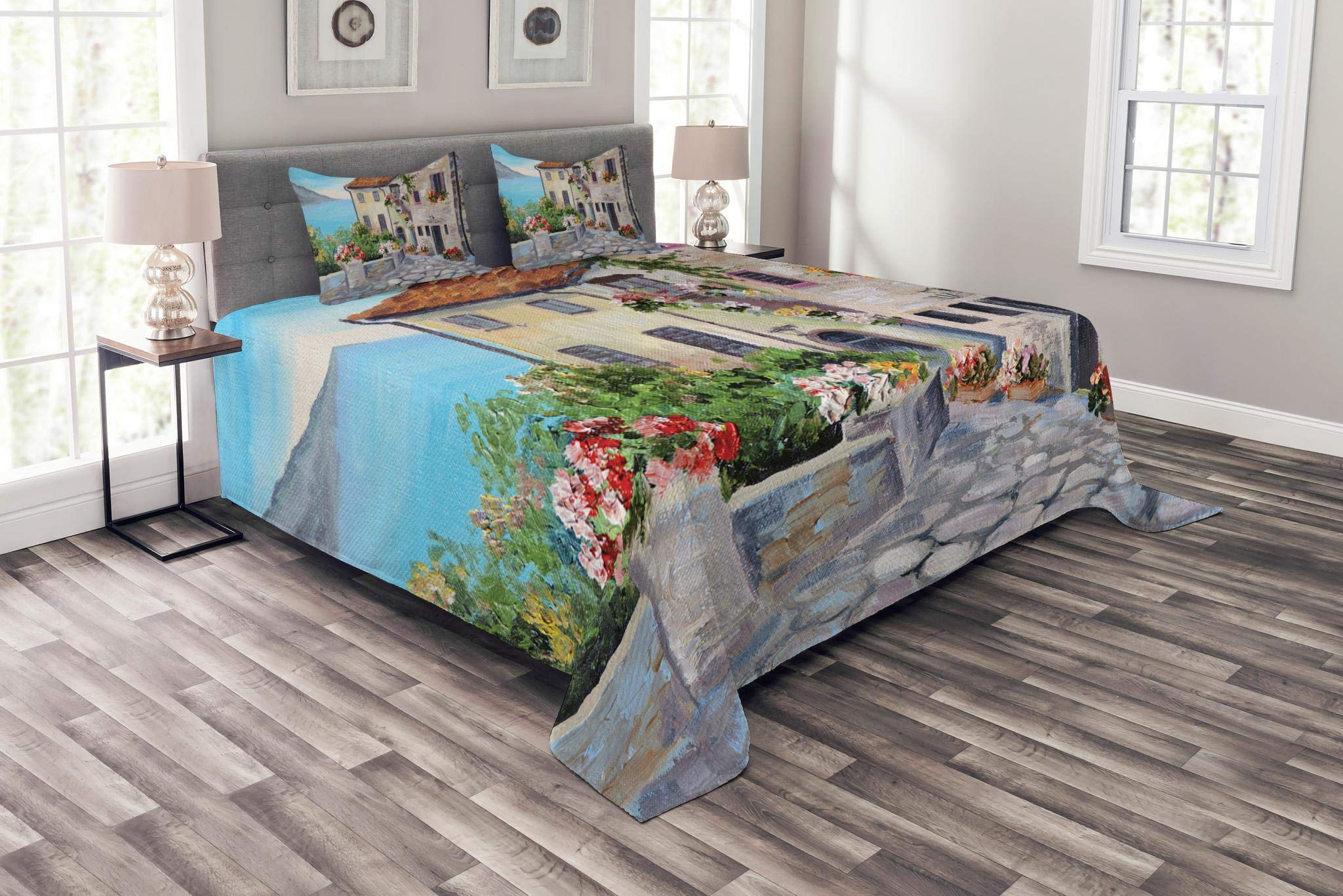 Lunarable Rustic Bedspread Set Queen Size, Old Houses in a Small Town Sea and Flower Pots at Windows Oil Painting Style, Decorative Quilted 3 Piece Coverlet Set with 2 Pillow Shams, Beige Pale Blue
