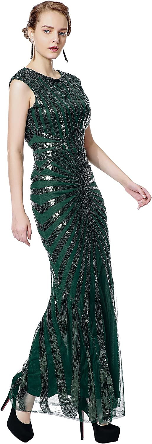 1920s Evening Dresses & Formal Gowns Metme Formal Evening Dress 1920s Sequin Mermaid Formal Long Flapper Gown Party $61.99 AT vintagedancer.com