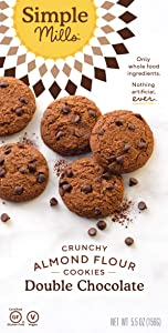 Simple Mills Almond Flour Double Chocolate Chip Cookies, Gluten Free and Delicious Crunchy Cookies, Organic Coconut Oil, Good for Snacks, Made with whole foods, (Packaging May Vary)