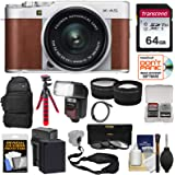 Fujifilm X-A5 Wi-Fi Digital Camera & 15-45mm XC Lens (Brown) with 64GB Card + Battery & Charger + Backpack + Tripod + Flash + Tele/Wide Lens Kit