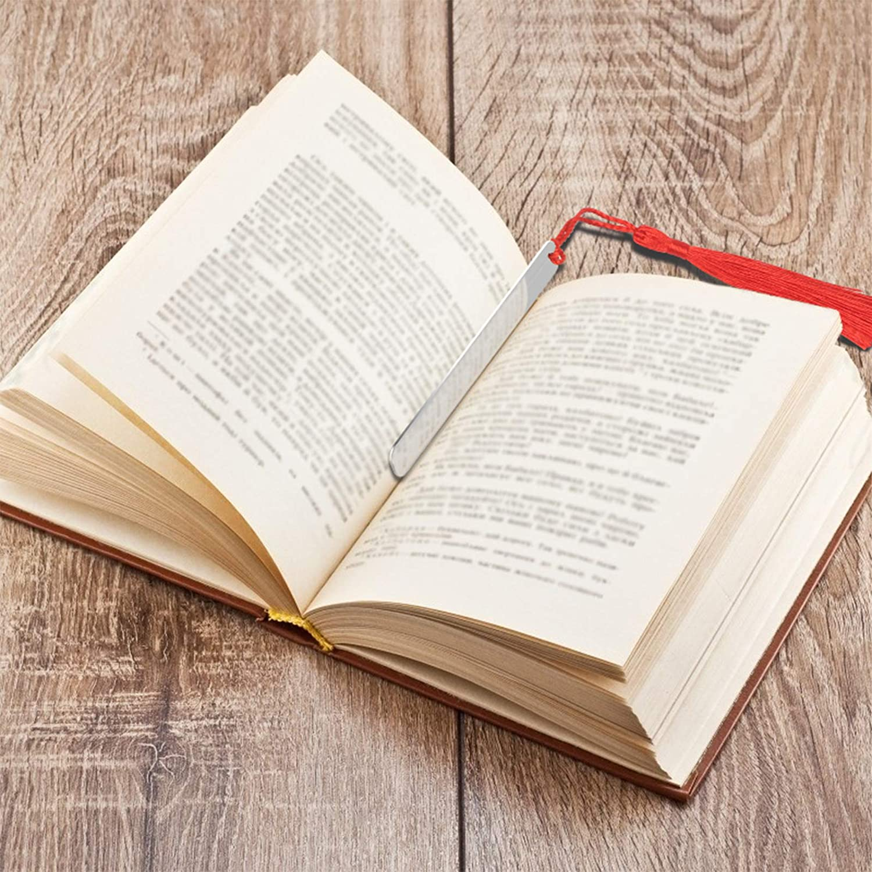 Matogle 2pcs Marque Page en Acier avec Mots Grav/és Signet Metallique avec Gland pour Lecture Signets Inox Portant Proverbe Grav/é Outils Utiles pour Lecteurs /à Bureau Maison