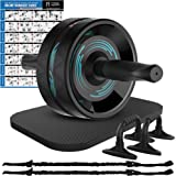 Ab Roller Wheel, 6-in-1 Ab Roller Kit with Knee Mat, Push-Up Bars, Resistance Bands, Workout Poster, Workout Guide, Perfect H