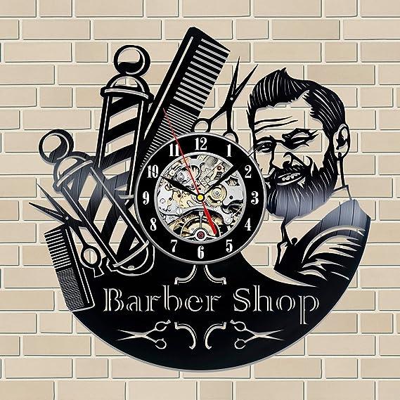 Amazon.com: Barber Shop Gift Vinyl Record Wall Clock Fan Black Room Idea …: Home & Kitchen