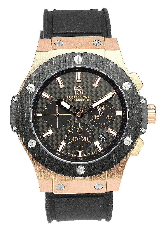[HYAKUICHI 101] 腕時計 ウォッチ 100m防水 ラバーベルト カーボン文字盤 ブラック×ピンクゴールド メンズ B01BTKM610