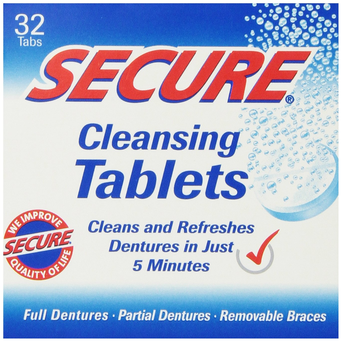 Denture Cleanser 32 Tab By Secure Denture Adhesive (1 Each) UNFI - Select Nutrition 30016